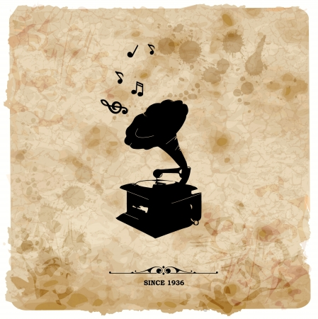 speaker box: Vintage postcard. Retro turntable on grunge background