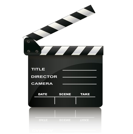 movie director: Clapper board isolated on white background
