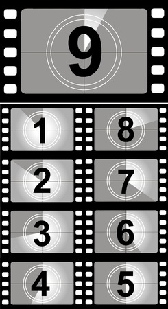mm: Film countdown numbers. Vector Illustration Stock Photo