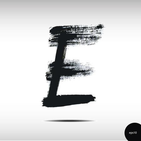 letter e: Calligraphic watercolor letter E