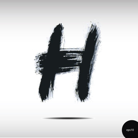 h: Calligraphic watercolor letter H