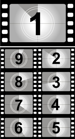 Film countdown nummers. Vector Illustratie