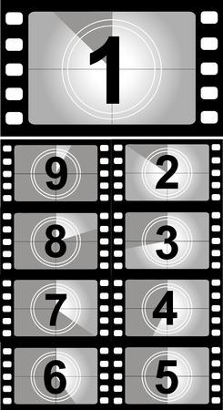 Film countdown nummers. Vector Illustratie
