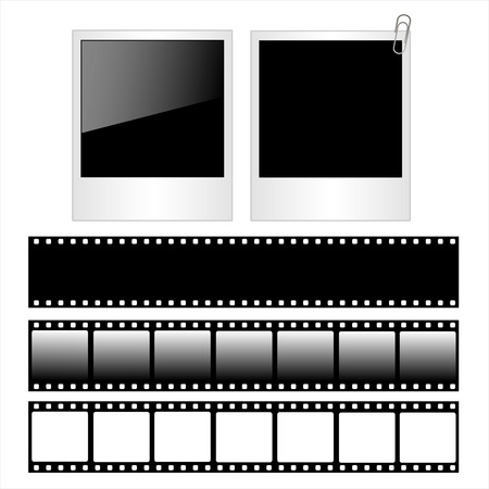 .Set of polaroid photo frames and film strips isolated on white background.Vector Illustration