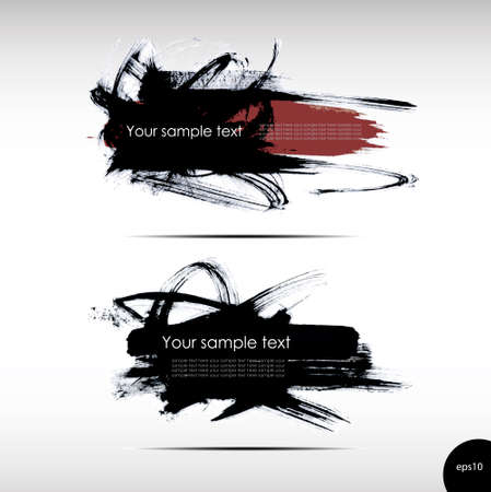 grungy header: Vector illustration of Splash banners set Stock Photo