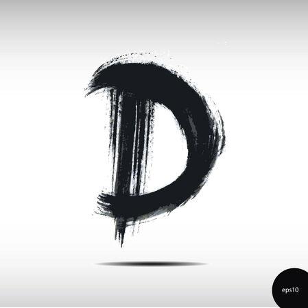 d: Calligraphic watercolor letter D