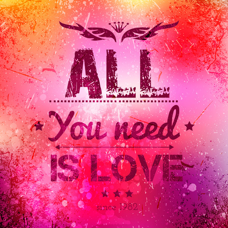 graffiti background: Abstract vector background on grunge paper with place for your text. Scratched old background with text - all you need is love. Grunge effects can be easily removed for a brand new, clean sign.