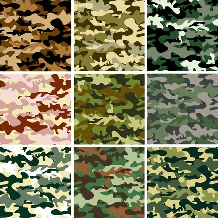 camouflage: 9 Set of camouflage pattern Illustration