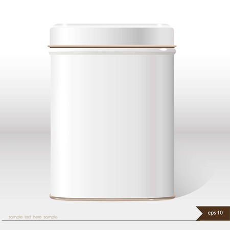 tin: White vector box with place for your text. Design product package. Tea,coffee,dry products.