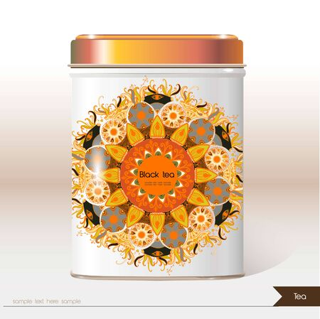 tin: Vector box tea with place for your text. Design product package. Tea,coffee,dry products. Illustration