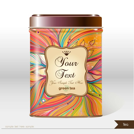 Vector box tea with place for your text. Design product package. Tea,coffee,dry products. Illustration