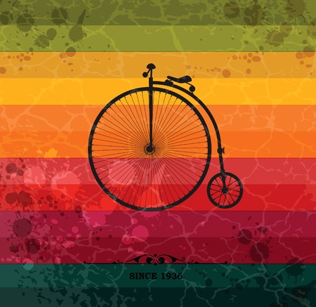 Retro bicycle on colorful geometric background with grunge paper. Retro background with geometric shapes.