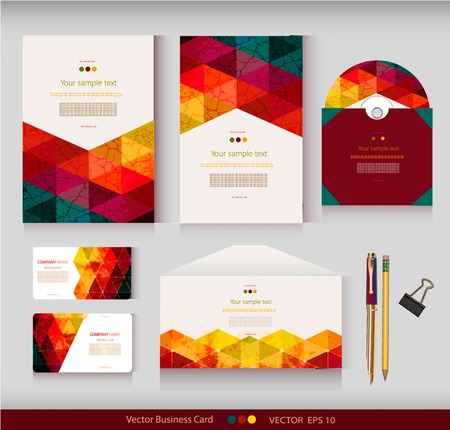 コーポレート ・ アイデンティティ。ベクトル テンプレート。幾何学的なパターン。封筒、カード、ビジネス カード、タグ、包装、鉛筆、クランプ