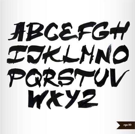 Handwritten black watercolor alphabet Banco de Imagens - 28071807