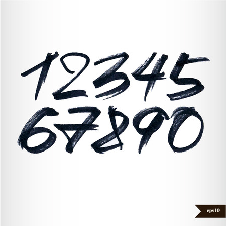 Calligraphic watercolor numbers