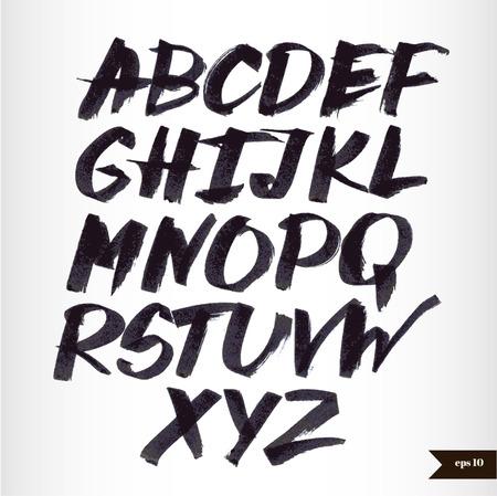 alfabeto graffiti: Scritto a mano calligrafica acquerello alfabeto nero Vettoriali