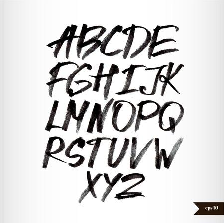 alphabet graffiti: Manuscrita caligr�fica alfabeto acuarela negro