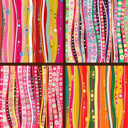 gaily: Set of four colourful line background.Strips background can be used for wallpaper, web page background,surface textures and so on Illustration