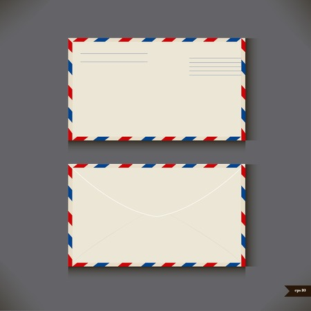 postcard back: Two airmail envelope on gray background  Vector illustration