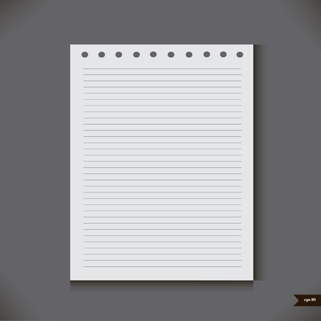 ruled paper: White notebook with lines Vector illustration