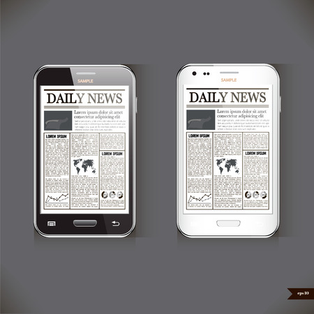 article: Modern smart phone with business news article Illustration