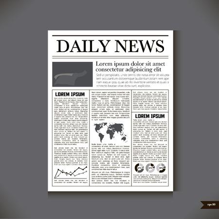 毎日のニュースの見出しで新聞  イラスト・ベクター素材