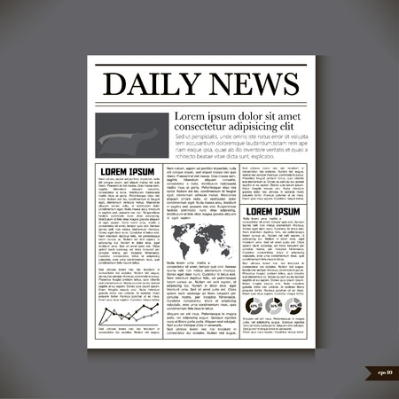 The newspaper with a headline Daily News Illustration