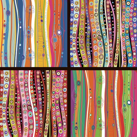 gaily: Set of four colourful line background.