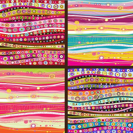 flores de cumpleaños: Conjunto de cuatro líneas de colores de fondo.