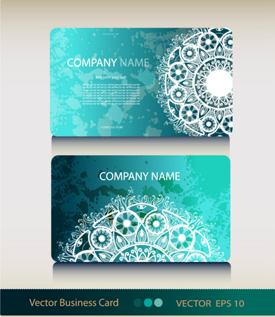 business card template: Set of abstract geometric business card