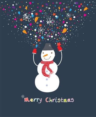 rt: Happy cartoon christmas snowman Illustration