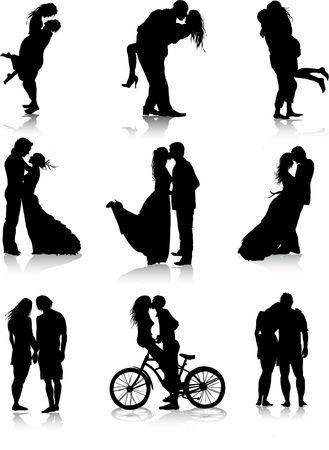 silhouette fleur: Couples romantiques silhouettes Illustration