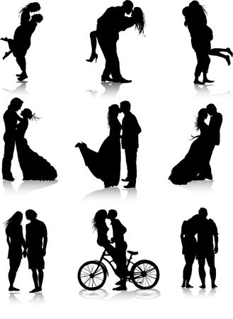 couple embrace: Romantic couples silhouettes
