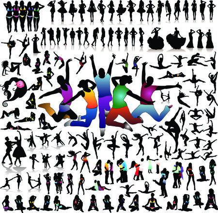 woman on cell phone: Vector set of 100 very detailed people silhouettes