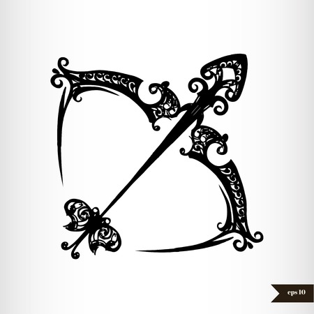 sagittarius: Zodiac signs black and white - Sagittarius Illustration