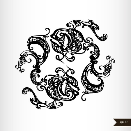 vedic: Zodiac signs black and white - Pisces