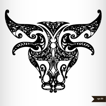 Zodiac signs black and white - Taurus Vector