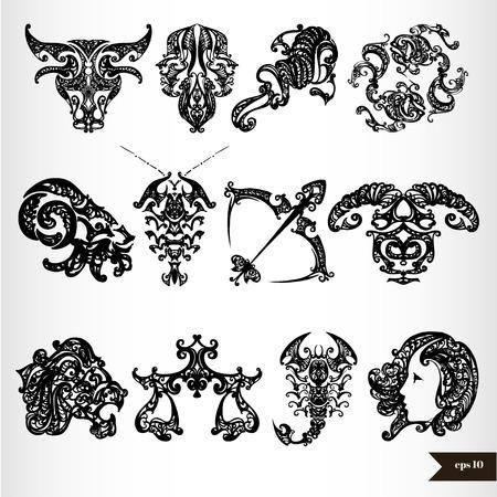 virgo: Signos del horóscopo del zodiaco Negro Vectores