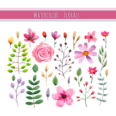 葉と花の水彩花コレクション。結婚式、ロマンチックなコレクション。グリーティング カードや結婚式の招待状のばねまたは夏のデザイン。ベクト