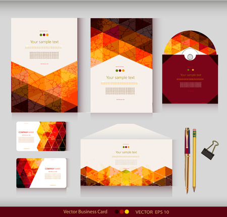 letter head: Corporate Identity. Vector templates. Geometric pattern. Envelope, cards, business cards, tags, disc with packaging, pencils, clamp. With place for your text Illustration