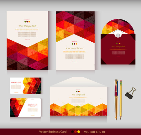 Corporate Identity. Vector templates. Geometric pattern. Envelope, cards, business cards, tags, disc with packaging, pencils, clamp. With place for your text Illustration