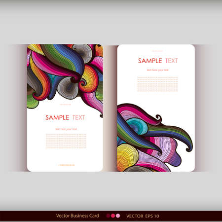 office romance: Set of two abstract colorful hand-drawn waves cards.Vector illustration