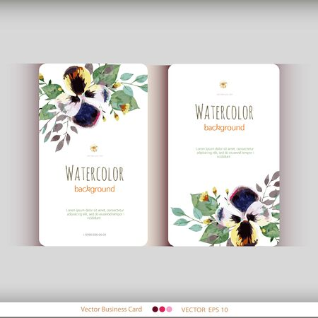 invitation wedding: Set of two abstract watercolor cards. Watercolor flowers.Vector illustration Illustration