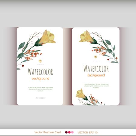 office romance: Set of two abstract watercolor cards. Watercolor flowers.Vector illustration Illustration