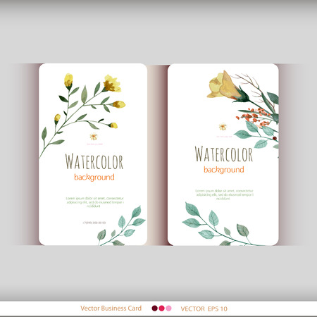 the nature: Set of two abstract watercolor cards. Watercolor flowers.Vector illustration Illustration