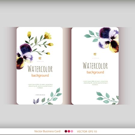 watercolour background: Set of two abstract watercolor cards. Watercolor flowers.Vector illustration Illustration