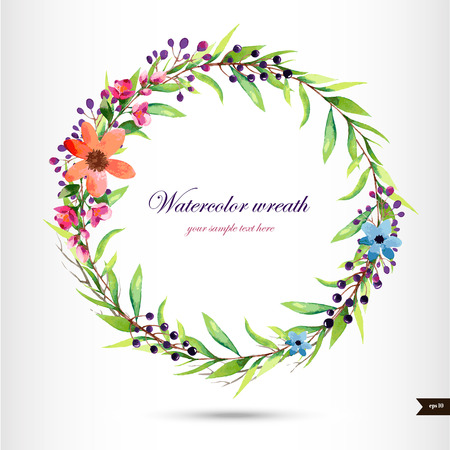 leaves frame: Watercolor wreath with flowers,foliage and branch.Vector illustration