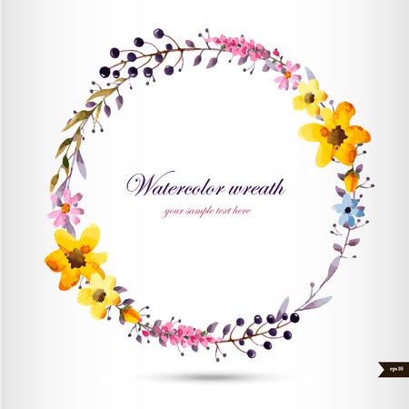 Corona acquerello con fiori, foglie e branch.Vector illustrazione Archivio Fotografico - 44081659