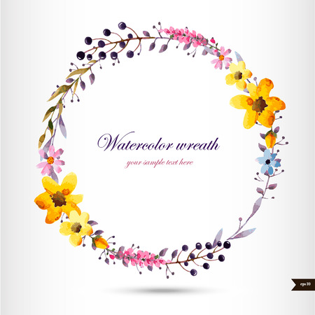retro circles: Watercolor wreath with flowers,foliage and branch.Vector illustration