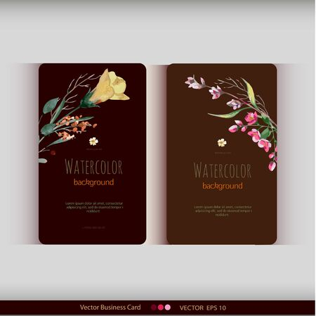 Set of two abstract watercolor cards. Watercolor flowers.Vector illustration Illustration